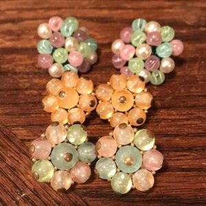 Crown Trifari pastel color glass clip on earrings